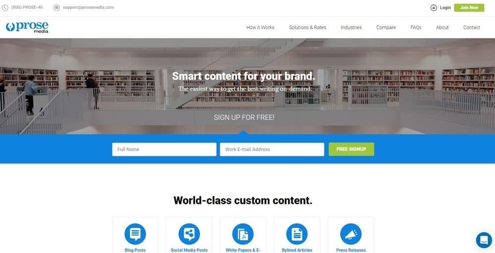 Prose Media website homepage