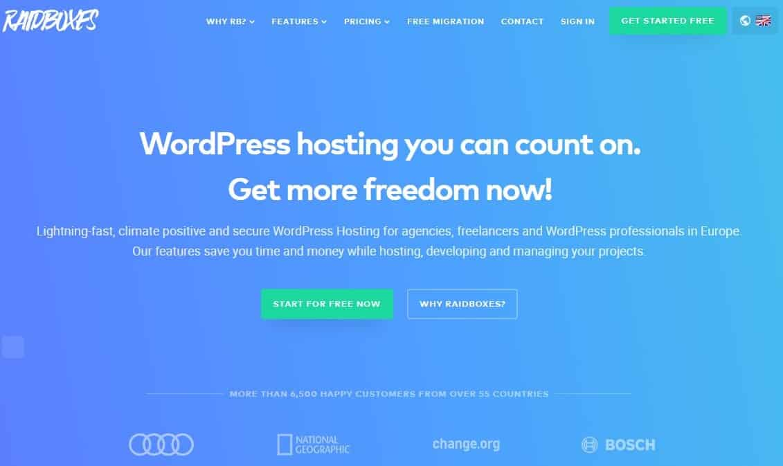 Raidboxes website homepage