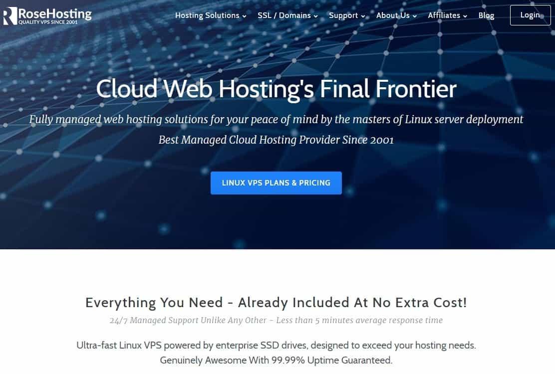 RoseHosting website homepage