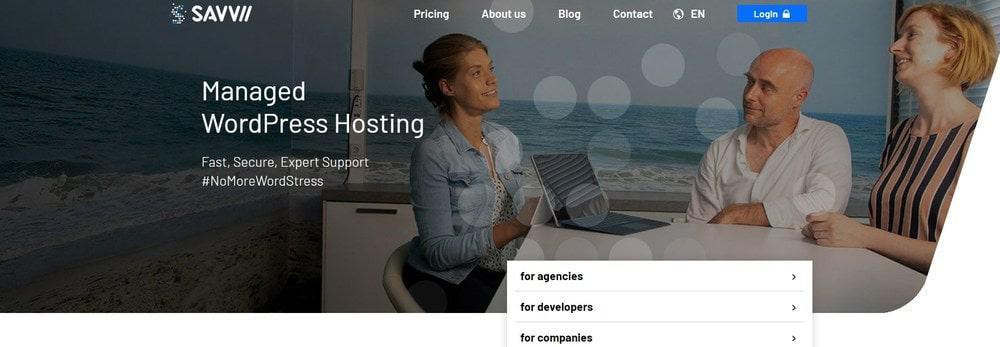 Savvii website homepage