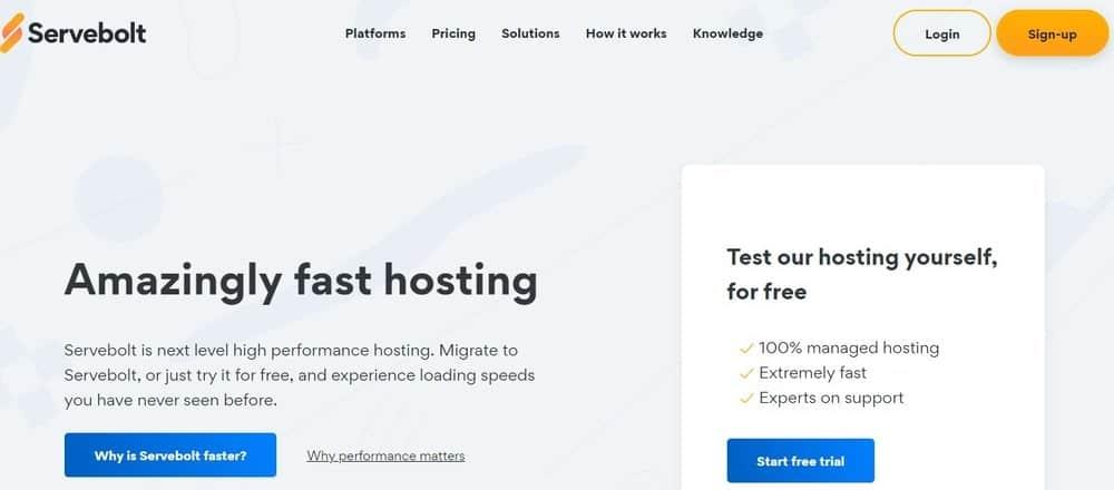 Servebolt website homepage
