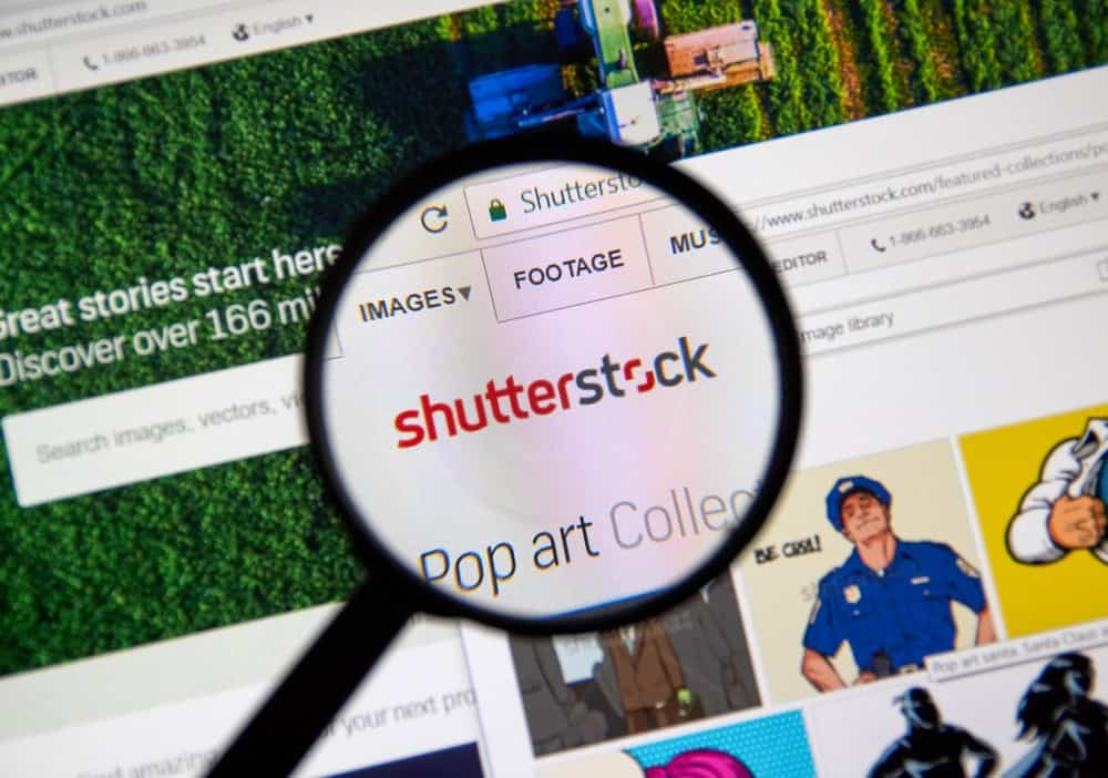 Shutterstock logo on its website.