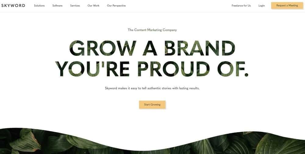 Skyword website homepage