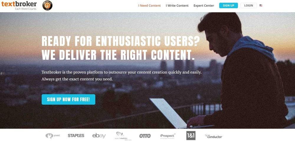 Textbroker website homepage