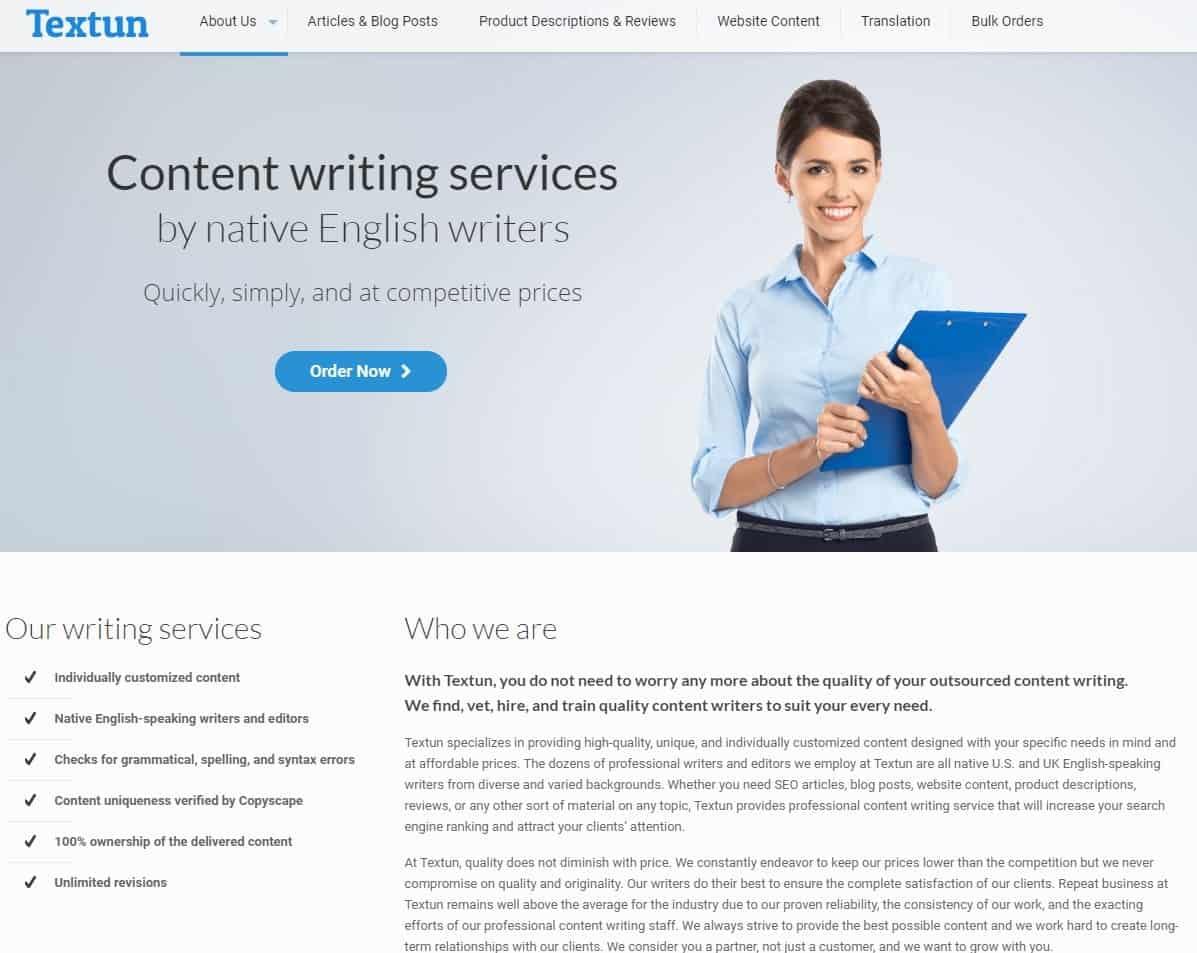 Textun website homepage