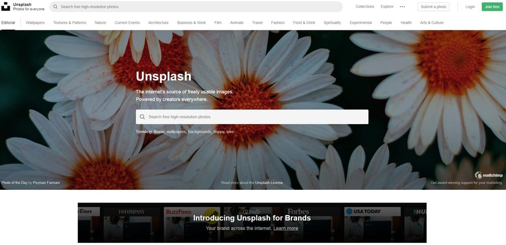 Unsplash homepage