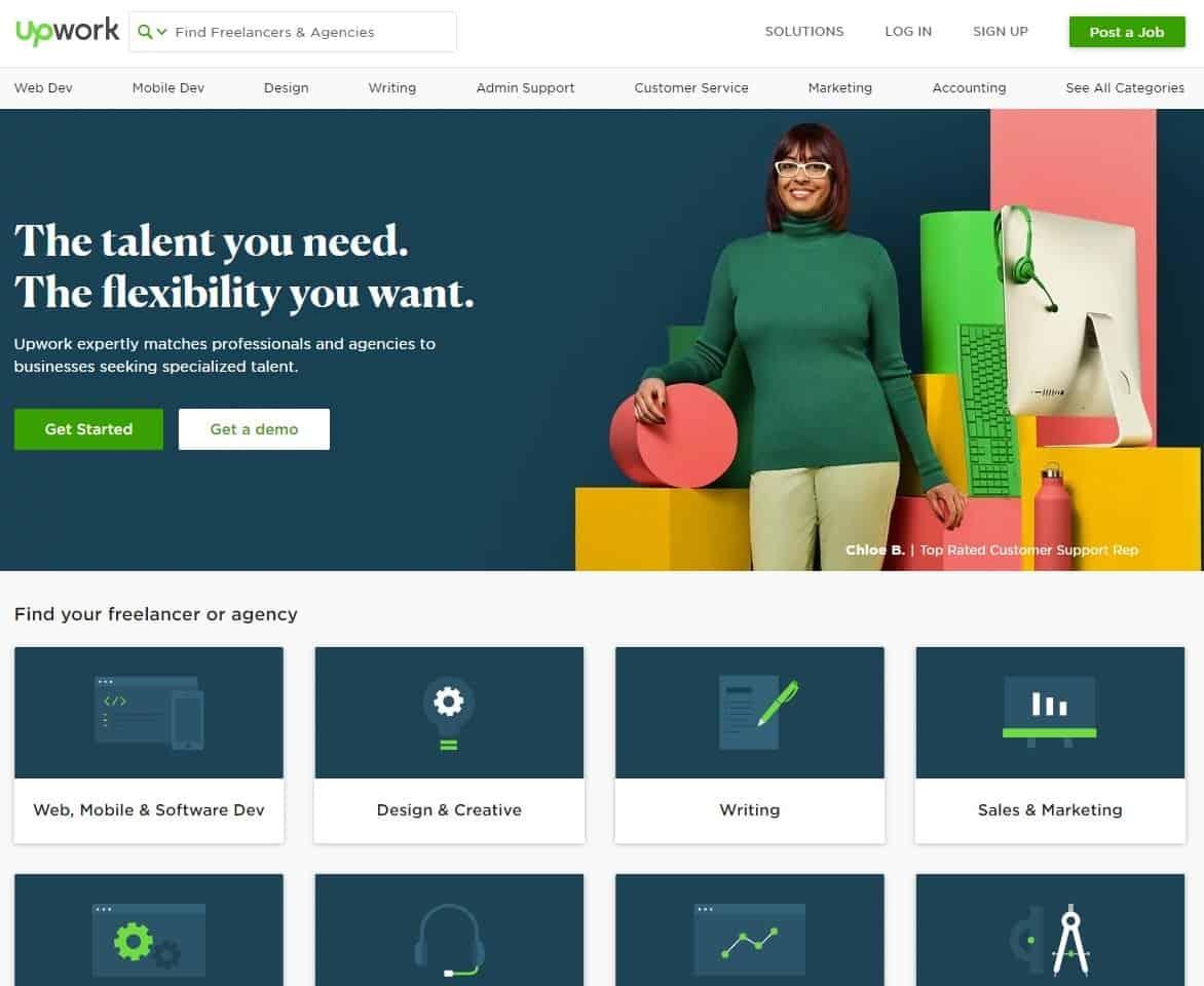 Upwork website homepage