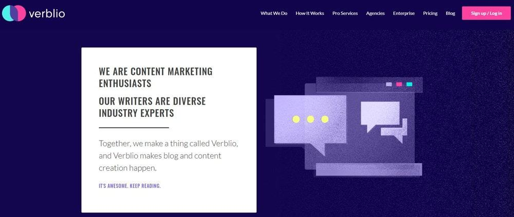 Verblio website homepage
