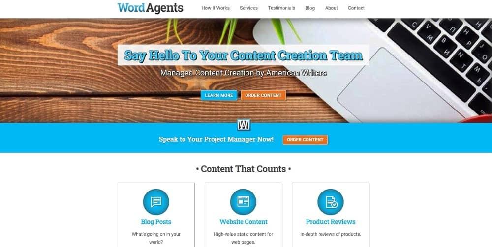 Word Agents website homepage