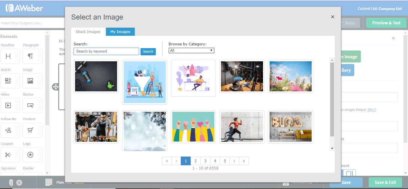 AWeber stock photos screenshot