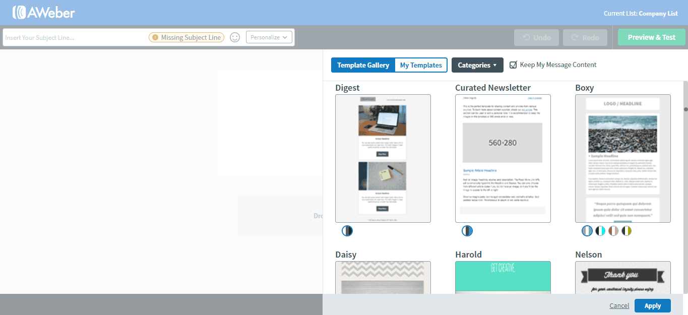 AWeber templates screenshot