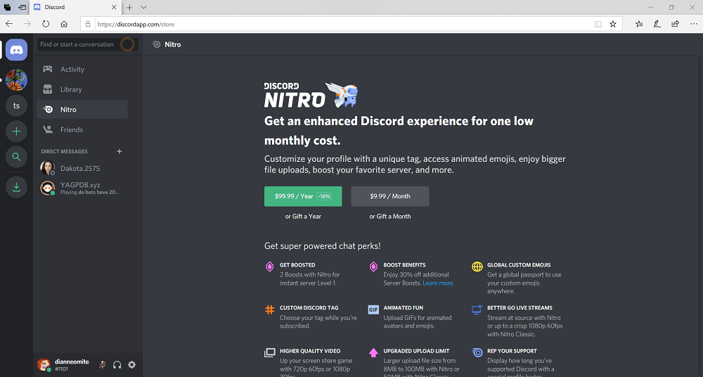 Screenshot of Discord cost