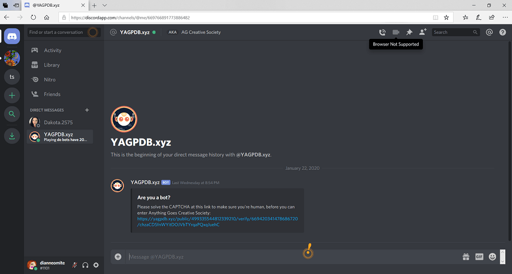Screenshot of Discord browser