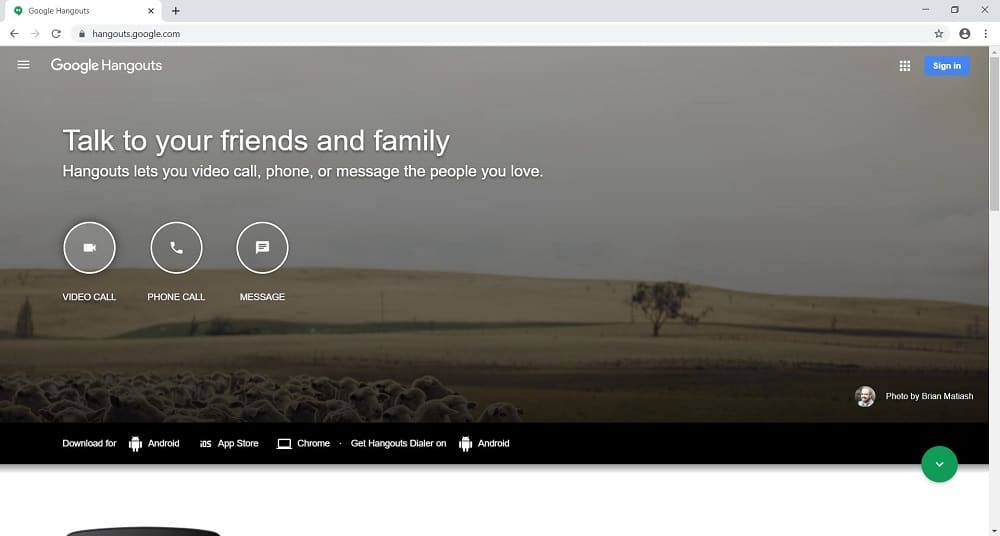 Screenshot of Google Hangouts dashboard