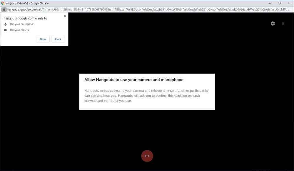 Screenshot of Google Hangouts invite people