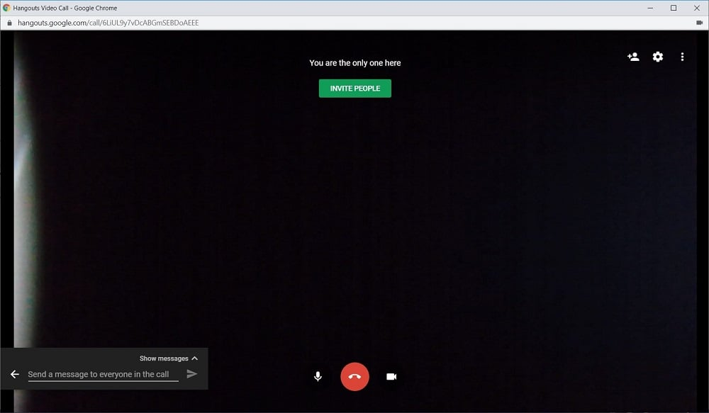 Screenshot of Google Hangouts
