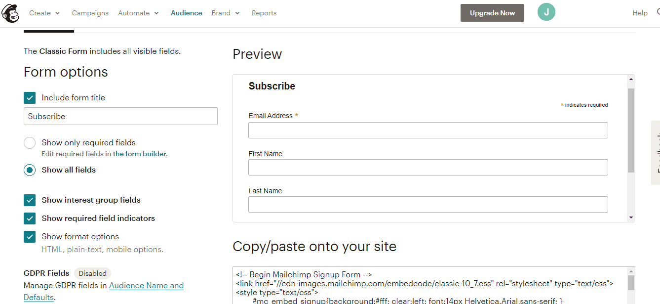 MailChimp sign up screenshot