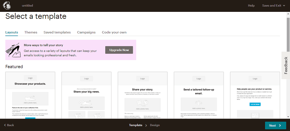 MailChimp template screenshot