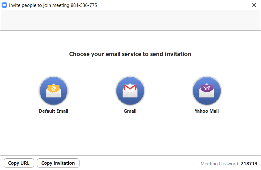 Screenshot of Zoom email service