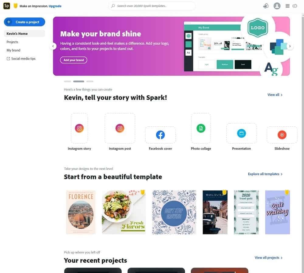Screenshot of Adobe Spark initial start options