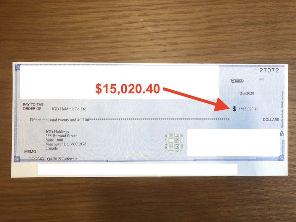 Affiliate check revenue for Q4
