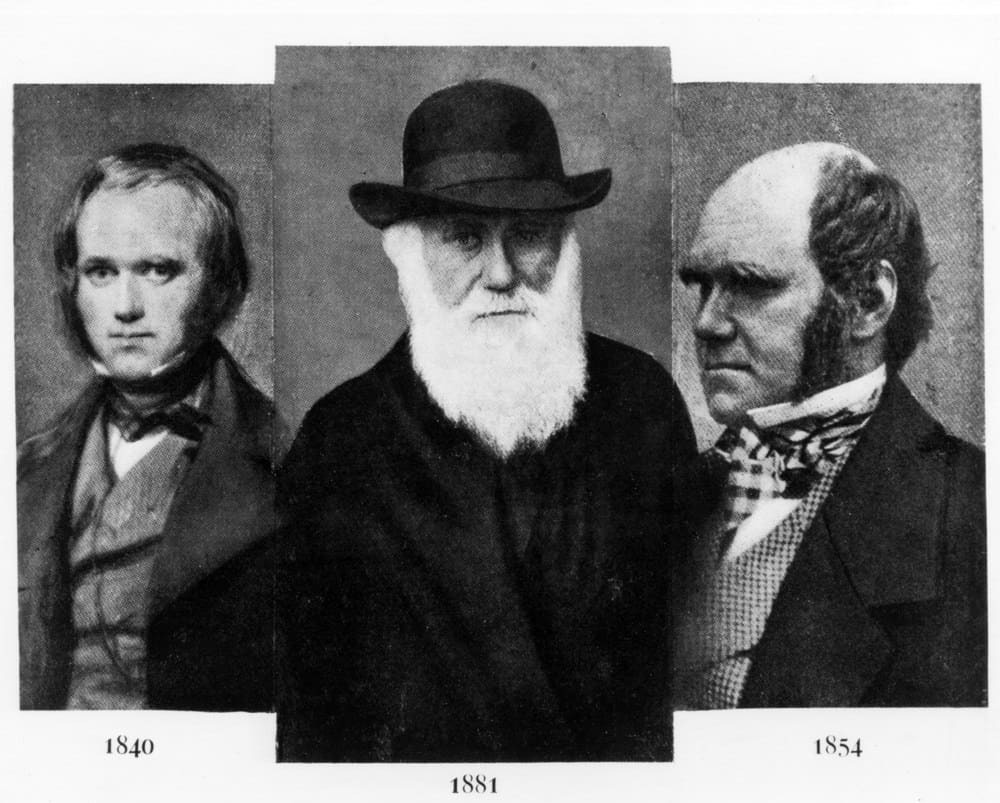 Charles Darwin (1809-1882), at age 31 in 1840 (L), age 72 in 1881 (M), age 45 in 1854 (R).