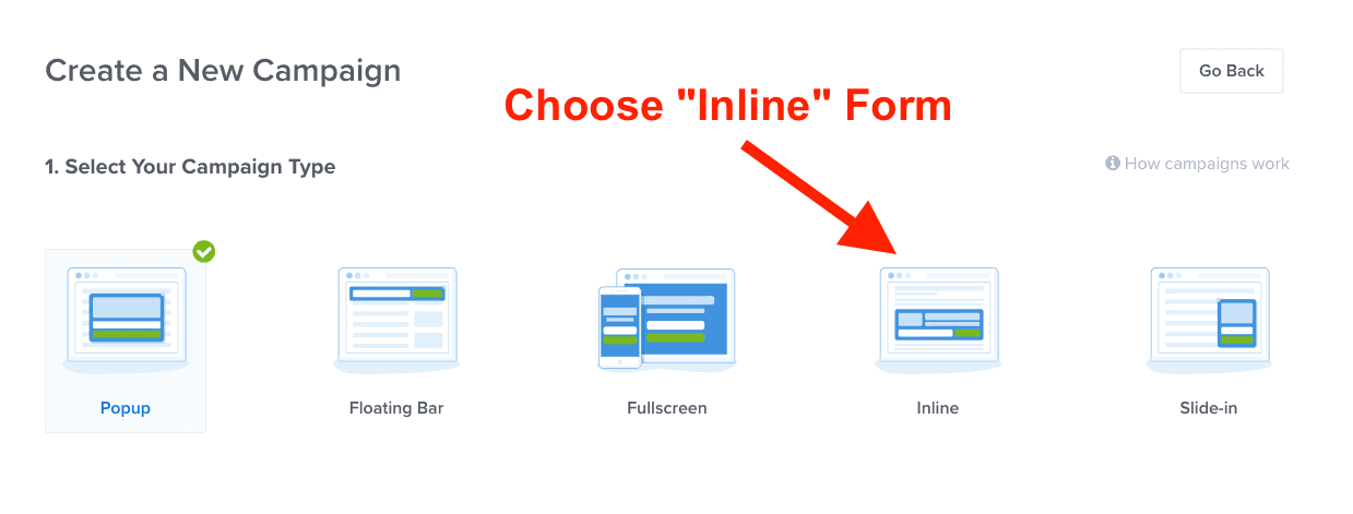 Choose OptinMonster inline form