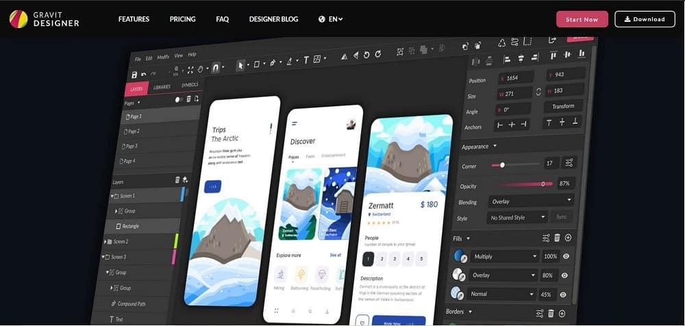 A screenshot of the Gravit Designer pin designer software tool.