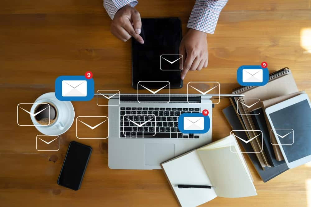 An image representation of electronic mail communication.