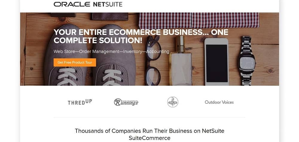 A screenshot of the Oracle NetSuite e-commerce website platform homepage.
