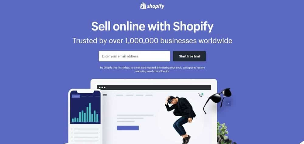 A screenshot of the Shopify e-commerce website platform homepage.