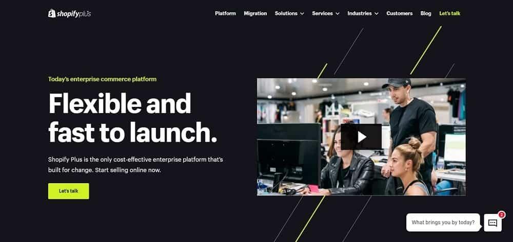 A screenshot of the ShopifyPlus e-commerce website platform homepage.