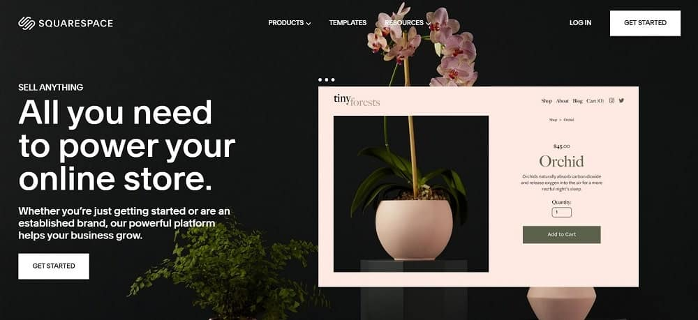 A screenshot of the SquareSpace e-commerce website platform homepage.