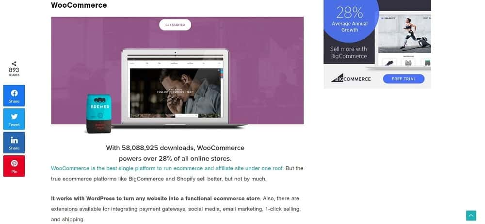 A screenshot of the WooCommerce e-commerce website platform homepage.