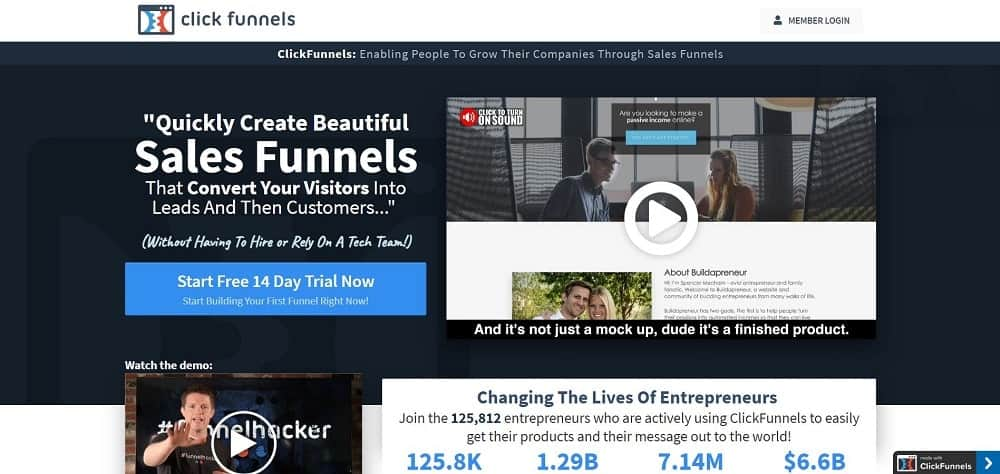 A screenshot of the ClickFunnels landing page software homepage.