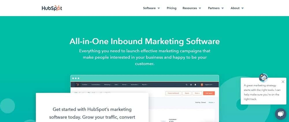 A screenshot of the HubSpot landing page software homepage.
