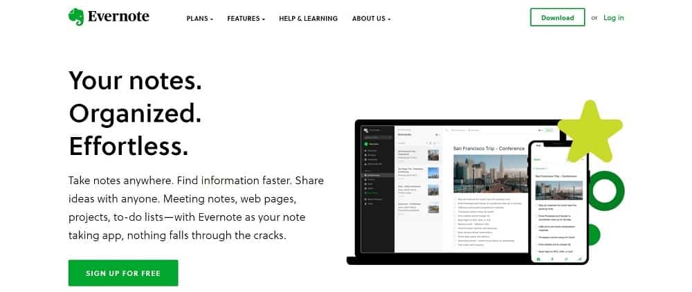 A screenshot of the Evernote note-taking app homepage.
