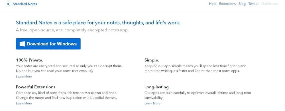 A screenshot of the Standard Notes note-taking app homepage.