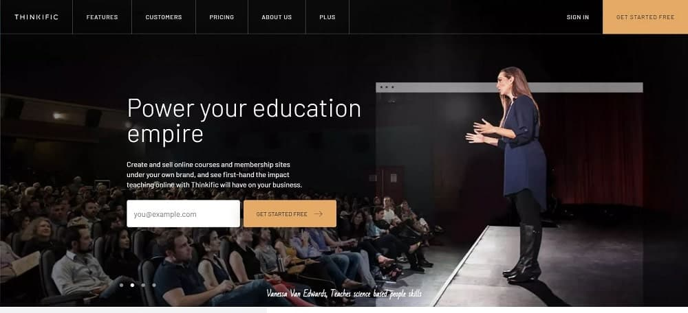 A screenshot of the Thinkific online course software homepage.