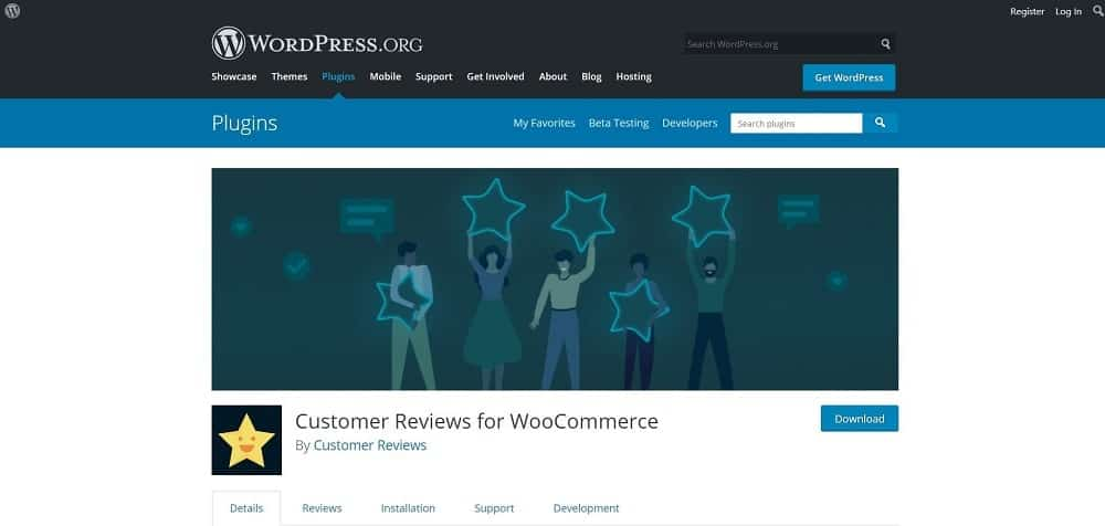A screenshot of the Customer Reviews for WooCommerce product review plugin for schema and ratings homepage.