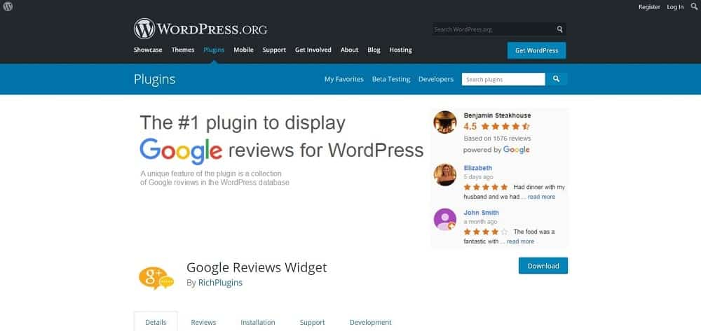 A screenshot of the Google Reviews Widget product review plugin for schema and ratings homepage.