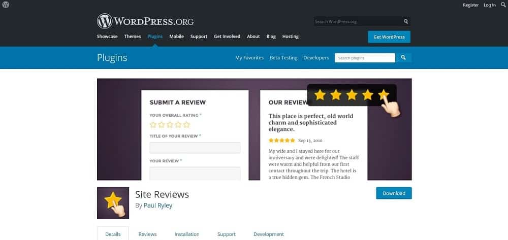 A screenshot of the Site Reviews product review plugin for schema and ratings homepage.