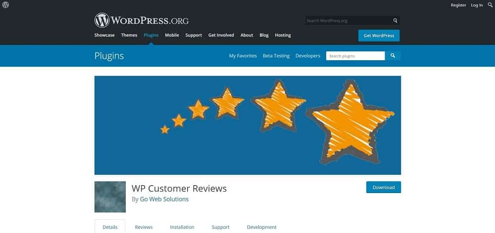 A screenshot of the WP Customer Reviews product review plugin for schema and ratings homepage.