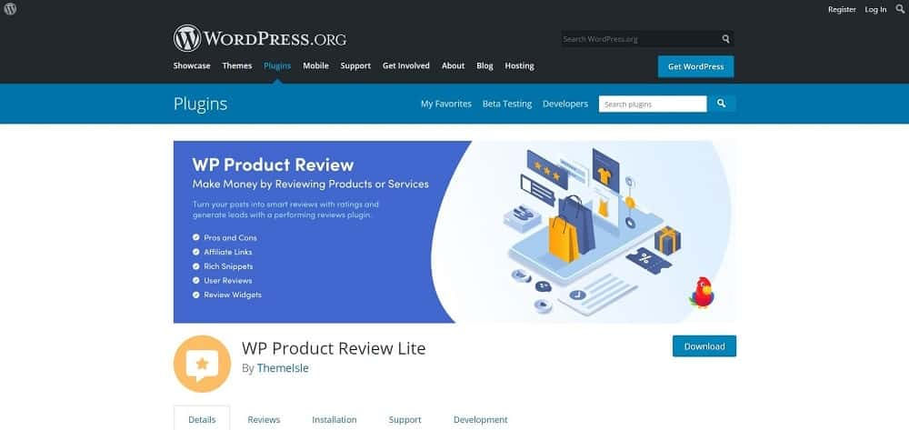 A screenshot of the WP Product Review Lite product review plugin for schema and ratings homepage.