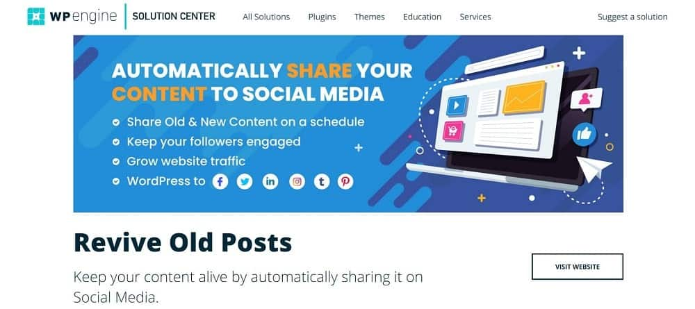 A screenshot of the Revive Old Posts social media sharing button plugin homepage.