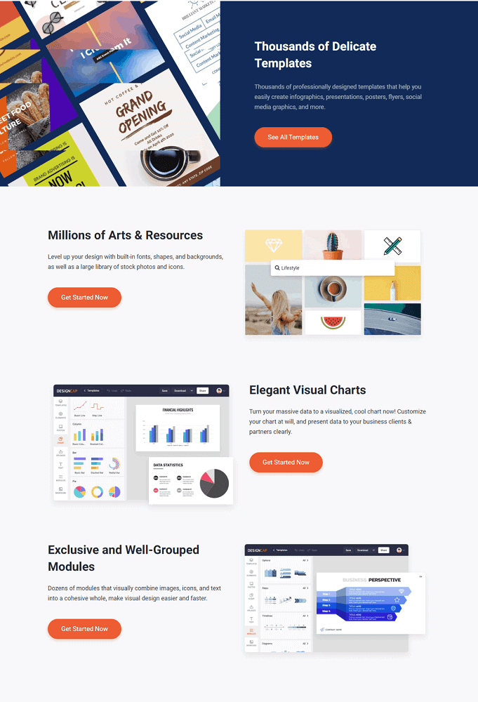 This is a screenshot of the various benefits of using Designcap.