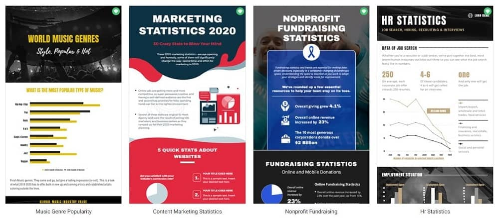 A row of various infographics templates.