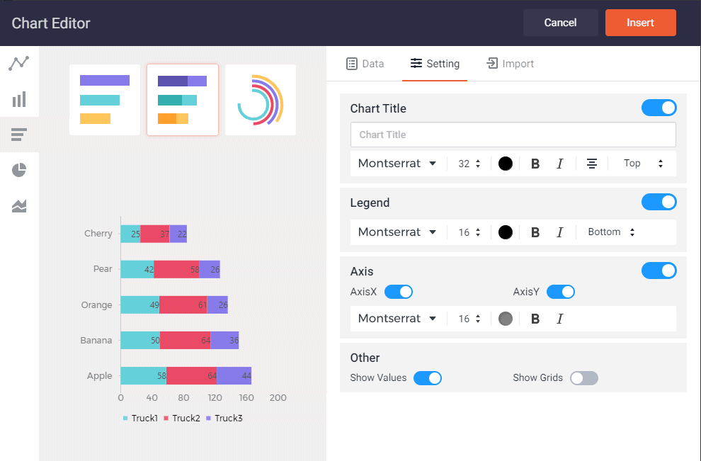 This is a screenshot of the chart editor in Designcap.