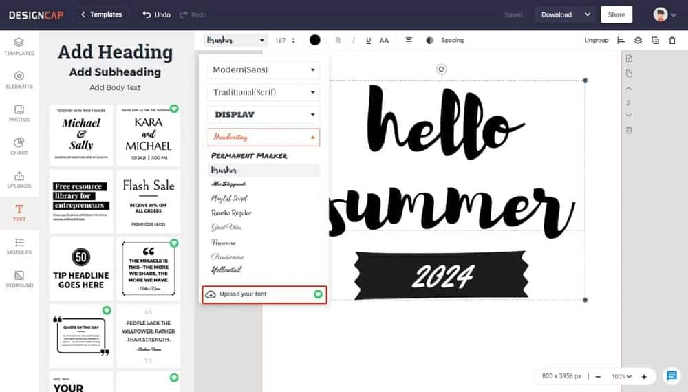 This is a screenshot of the text and heading editor in Designcap.