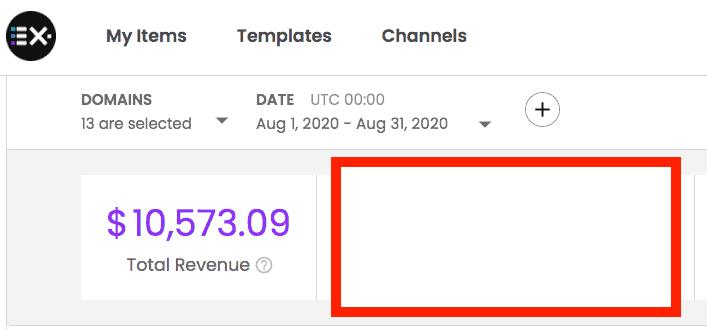 EX.co revenue screenshot Aug 2020